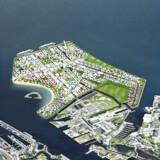 Regeringen har nedsat en tværministeriel kommission, der skal løse udfordringer i hovedstadsområdet frem mod 2030. Det ventes tidligst, at man kan bygge på Lynetteholmen i 2035. Alligevel indgår den nye ø som en del af regeringens arbejde med hovedstadsområdet. Illustration: By & Havn