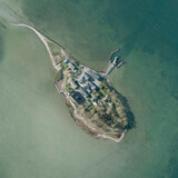 (ARKIV) Øen Lindholm i Stege Bugt, fotograferet fra luften den 6. april 2017.