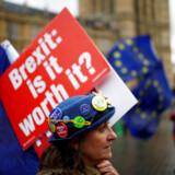 Anti-Brexit demonstranter uden for parlamentsbygningen i London. Arkivfoto: REUTERS/Henry Nicholls/File Photo