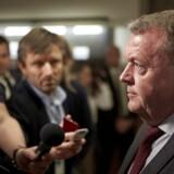 Efter debatten i Folketinget mødte statsminister Lars Løkke Rasmussen (V) pressen. Foto: Jens Astrup/Ritzau Scanpix