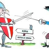 »Berlingske humper af sted og flagrer for tiden rundt som et løsrevet, liberalt blad i vinden,« mener Kristian Thulesen Dahl. Tegning: Jens Hage