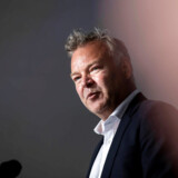Folkemødet i Allinge på Bornholm 2018. Folkemødets bestyrelsesformand Michael Valentin holder tale til Folkemødets åbning torsdag den 14. juni 2018.