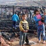Syriske flygtninge i flygtningelejr nær landsbyen Yammouneh i Libanon 3. december 2018.