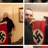 Den 22-årige Adam Thomas poserer her på flere billeder – i øverste venstre hjørne i Ku Klux Klan-tøj med sin nyfødte søn i armene, så med en kniv, dernæst med hans kæreste Claudia Patatas og deres søn, så med den tætte ven Darren Fletcher, og til sidst med en armbrøst.