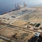 Luftbillede af dybvandshavnen i pakistanske Gwadar, som den så ud i oktober 2017.