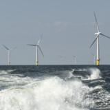 Kort efter kl. 23 søndag lykkedes det at få den første vindmølle på Horns Rev 3 tilsluttet det danske elnet. Forventningen er, at yderligere 1-2 møller kommer op og køre i løbet af natten eller juleaftensdag. Her ses vindmøller i vindmølleparken Horns Rev 2, der ligger syd for den nye vindmøllepark. (Arkivfoto) Henning Bagger/Ritzau Scanpix