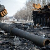 En ødelagt tank i den østukrainske by Vuglegirsk i Donetsk-regionen.
