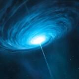 Forskerne opdagede de ekstremt fjerne planeter ved at udnytte den kraftige lys- og forstørrelseseffekt fra en såkaldt kvasar (billedet). Kvasarer er voldsomt lysende og hastigt roterende skyer af gas og støv omkring supermassive sorte huller centralt i galakser.
