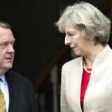 Den britiske premierminister Theresa May under sit besøg hos statsminister Lars Løkke Rasmussen på Marienborg sidste år.