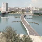 Lille Langebro som den er tænkt fra Realdanias side. Nu bliver cykel- og gangbroen ikke til noget før tidligst i 2019. Foto BLOX