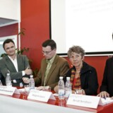 EU-spidskandidaterne Jens Rohde, Dan Jørgensen, Kenneth Kristensen Berth, Margrethe Auken og Bent Bendtsen deltager i et debatmøde fredag d. 29 maj 2009 i Hellerup.