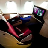 Arkiv: Business-class sæde i A380 flyet for Qatar Airways.