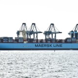 Arkivfoto. Verdens største containerskib 'Mærsk Mc-Kinney Møller' i Aarhus Havn.