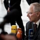 ARKIVFOTO. Tysklands finansminister Wolfgang Schäuble kalder Front National for et fascist-parti. Her ses han til ECOFIN-topmødet i Bella Center, fredag d. 30. marts 2012.(Foto: Torkil Adsersen/Scanpix 2012)