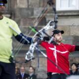 VM i Bueskydning Finaler på Christiansborg Slotsplads. Danmarks Stephan Hansen vinder gul i Compound mod Inderen RAJAT CHAUHAN