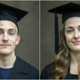 Lea Nash og Jonas Kristensen kunne fra i går kalde sig i professionsbachelorer i global nutrition and health. Foto: Emil Hougaard