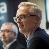 Alkas direktør Henrik Grønborg (TV) og Trygs direktør Morten Hübbe på pressemødet mandag 4. december 2017, hvor forsikringsselskabet Tryg offentliggjorde, at de køber den mindre rival Alka for 8,2 mia. kroner.