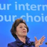 »Dit Internet - dit valg,« lød baggrundsteksten, da EUs daværende konkurrencekommissær, hollænderen Neelie Kroes, i december annoncerede, at EU og Microsoft var kommet overens om, hvordan EU-borgerne får alternative veje til nettet. Foto: Georges Gobet, AFP/Scanpix