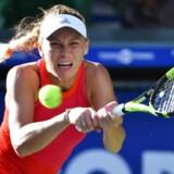 Caroline Wozniacki i semifinale-kampen mod Garbine Muguruza fra Spanien / AFP PHOTO / Kazuhiro NOGI