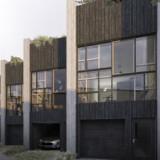 En illustration viser, hvordan byggeriet »Upcycle Studios« i det nye kvarter Ørestad Syd kommer til at se ud, når det står færdigt. Boligen genanvender i stor stil materialer fra gamle bygninger, den genanvender regnvand og så er den endda også energineutral, da den selv producerer solenergi på taget.
