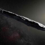 Sådan forestiller en kunstner sig, at det mindst 400 meter lange objekt fra stjernerne ser ud.