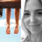 Modelfoto af børn ved en strand og bylinefoto af Lea Wellejus.