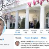 »Fra Det Hvide Hus blæser en varm vind af bizarre tweets,« skriver Mads Fuglede med henvisning til Donald Trumps Twitter-profil.