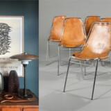 Foto 1: Anders Forup er en ivrig samler, hvilket tydeligt afspejles i hans hjem. Foto 2: Klassisk og helt rigtig lige nu: Charlotte Perriands Les Arcs-stole, solgt hos Bruun Rasmussen.
