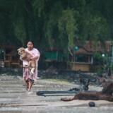 En kvinde løber med sin hund i favnen mod sit hjem, mens den tropiske storm Pabuk nærmer sig Nakhon Si Thammarat i det sydlige Thailand.