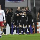 Rosenborg fejrer en socring mod Leipzig i Europe League. EPA/FILIP SINGER