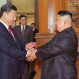 Kim Jong-un og Xi Jinping giver hinanden hånden på et topmøde i Beijing i juni sidste år. Tirsdag ankom den nordkoreanske leder til et nyt topmøde med den kinesiske præsident. (Arkivfoto). -Handout/Ritzau Scanpix