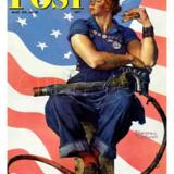 Kvinderne blev i stor stil indkaldt til krigsindustrien, fordi mændene var i kirg. Denne avisforside viser en sådan kvinde i maskulin positur. Illustration fra bogen.