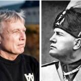 Alternativets politiske leder, Uffe Elbæk (tv), mener at se Benito Mussolinis skygge i nutidens dansk politik.