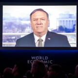 Michael Pompeo, amerikansk udenrigsminister, taler via videotransmission ved World Economic Forum, WEF, i Davos i Schweiz.