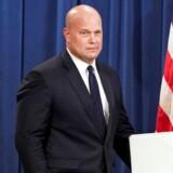 USA's fungerende justitsminister, Matthew G. Whitaker, forklarede mandag på et pressemøde, at han var blevet briefet om Rusland-undersøgelsen, og at den »snart var tæt på at være ovre«.