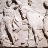 Et udsnit af Parthenonfrisen, også kaldte the Elgin Marbles, som har været i British Museums vartægt siden 1816. Foto: Leon Neal/AFP.