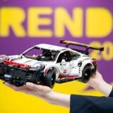 En Porsche 911-model fra Lego Technic var udstillet på en stor legetøjsmesse i Nürnberg i Tyskland den 29. januar 2019.