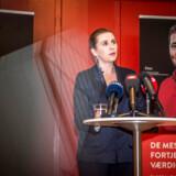 Socialdemokratiets formand Mette Frederiksen præsenterer udspillet »De mest nedslidte fortjener også en værdig pension« på et pressemøde på Plejecenter Sølund i København 22. januar 2019.
