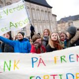 Den Grønne Studenterbevægelse demonstrerer i anledning af den internationale skolestrejke for klimaet, på Bertel Thorvaldsens Plads i København fredag den 1. februar 2019. Thomas Sjørup/Ritzau Scanpix