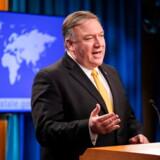 USAs udenrigsminister, Mike Pompeo, meddelte i går, at USA vil trække sig fra nedrustningsaftale. Foto: Jim Lo Scalzo/Ritzau Scanpix