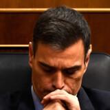 Spaniens premierminister, Pedro Sanchez, under debat om finanslovsudspil, der onsdag blev forkastet af parlamentet. Dermed er Spanien rykket tæt på et valg. Pierre-Philippe Marcou/Ritzau Scanpix