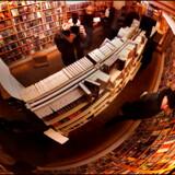 Eventyr i kælderhøjde hos tegneseriebutikken Fantask i København set gennem det runde overvågningsspejl i loftet.