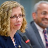 World Bank Regional Vice President for the Middle East and North Africa Inger Andersen (L) and World Bank Chief Economist for the Middle East and North Africa region Shanta Devarajan (R) listen to a reporter's question during a press briefing on the Middle East and North Africa (MENA) economic situation on April 8, 2014 in Washington. The World Bank outlook for economies in the MENA region is cautiously positive.  AFP PHOTO/Mandel NGAN. MANDEL NGAN / AFP