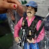 I Mexico er det muligt at købe figurer af den i USA fængslede narkoboss Joaquin El Chapo Guzman. Her er det i en butik i Culiacan i staten Sinaloa.