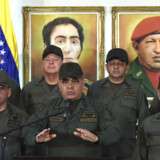 Venezuelas forsvarsminister, Vladimir Padrino, gentog tirsdag militærets ubetingede loyalitet over for præsident Nicolás Maduro i en tale i Caracas. Yuri Cortez/Ritzau Scanpix