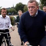 Statsminister Lars Løkke Rasmussen og præsident Emmanuel Macron kørte sidste år en cykeltur i København. (Arkivfoto). Statsministeriet/Ritzau Scanpix