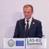 I den nuværende situation ville det være en rationel beslutning (at udskyde brexit). Men premierminister May mener fortsat, at hun kan undgå dette, siger Donald Tusk efter et topmøde mellem EU og Den Arabiske Liga i Sharm el-Sheikh. Mohamed El-Shahed/Ritzau Scanpix