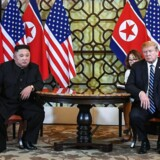 Nordkoreas leder, Kim Jong-un (tv.) og USAs præsident, Donald Trump.