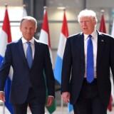 Stiller Donald Tusk (til venstre) op som polsk præsident i 2020, hvor der ligesom i USA skal være præsidentvalg? Det spekuleres der heftigt i i Warszawa.