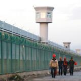 Bygningsarbejdere går forbi ydermuren på det, der officielt er en teknisk skole i Dabancheng i Xinjiang. Bygningskomplekset ligger mellem Xinjiangs hovedstad, Urumqi, og turistdestinationen Turpan. Foto: Thomas Peter/Reuters/Ritzau Scanpix